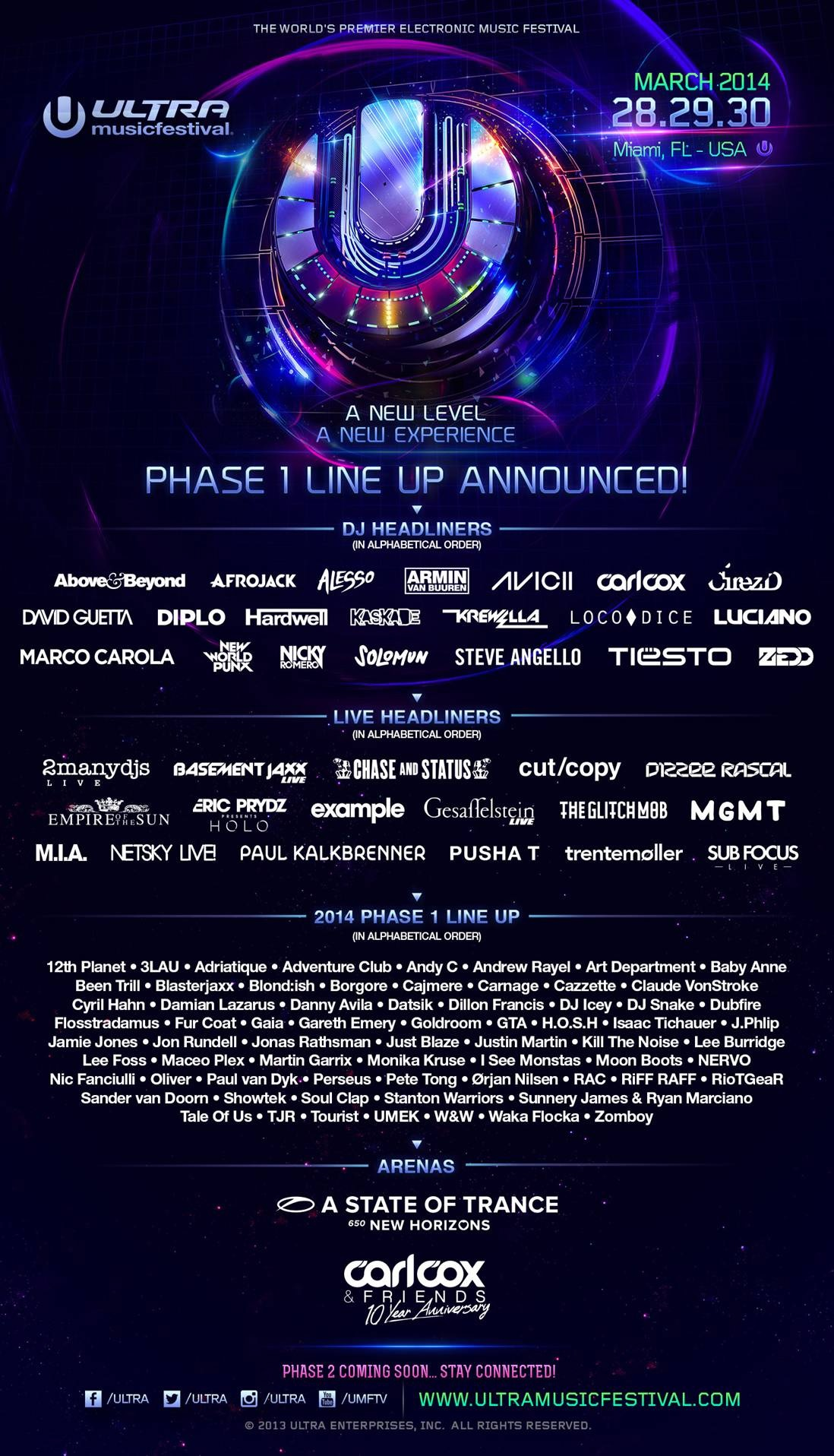ultra music festival unveils 2014 phase 1 lineup. Black Bedroom Furniture Sets. Home Design Ideas