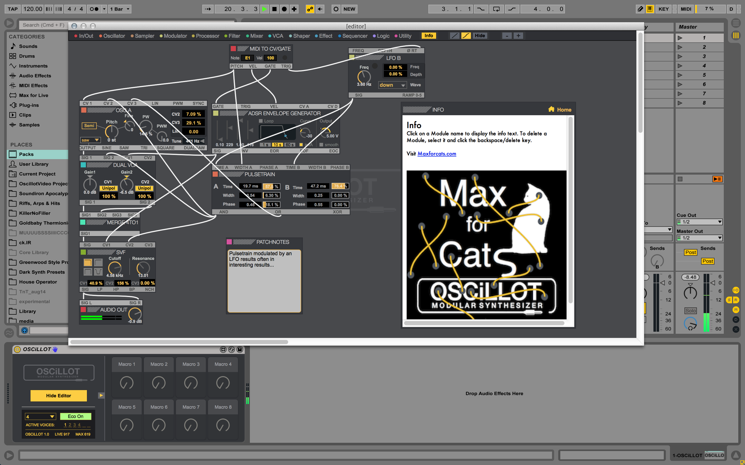 ableton launches oscillot modular synthesizer system. Black Bedroom Furniture Sets. Home Design Ideas